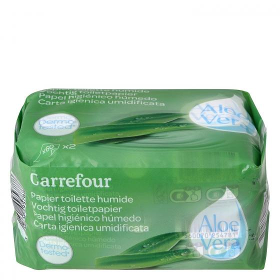 Papel higiénico húmedo aloe vera Carrefour pack de 2 paquetes de 60 ud.