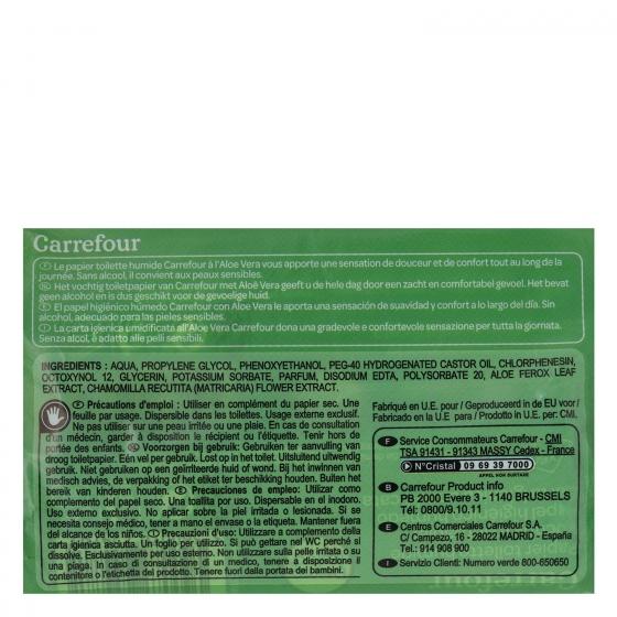 Papel higiénico húmedo aloe vera Carrefour pack de 2 paquetes de 60 ud. - 3