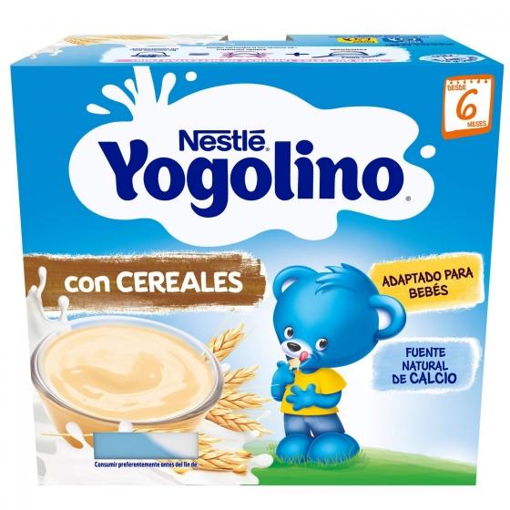 Postre lácteo con cereales desde 6 meses Nestlé Yogolino pack de 4 unidades de 100 g. - 1
