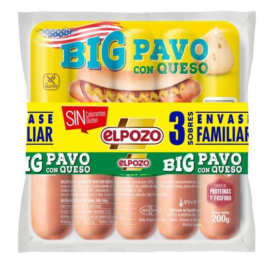 Salchichas BIG Pavo con queso El Pozo pack de 3 unidades de 200 g.