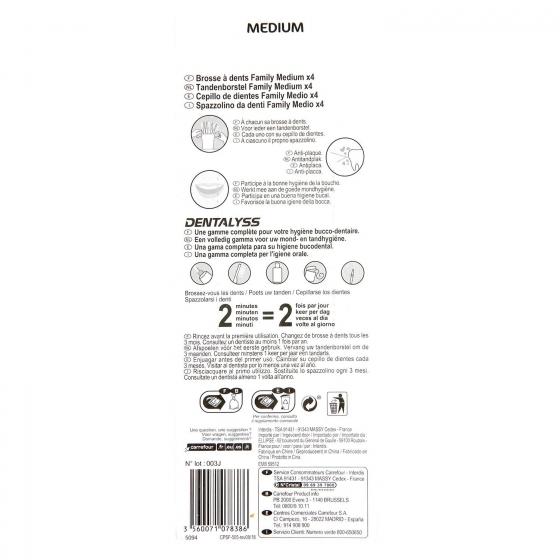 Cepillo dental medio Carrefour 4 ud. - 1
