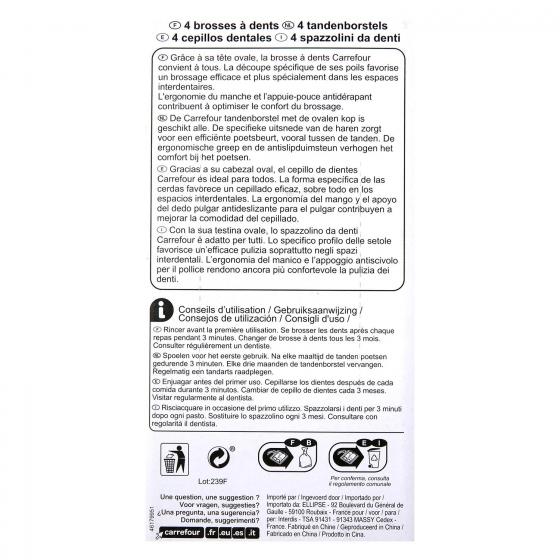 Cepillo dental medio Carrefour 4 ud. - 3