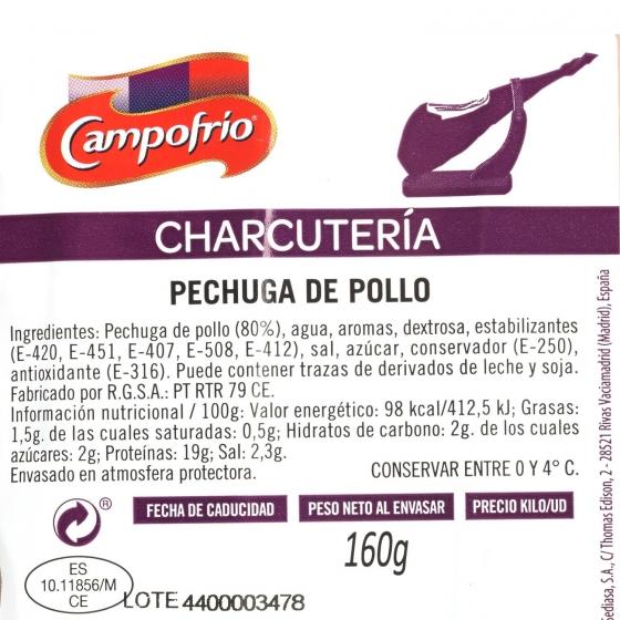 Pechuga de pollo loncheada como recien cortado Campofrío envase 160 g - 3