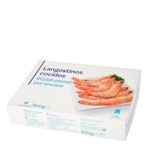Langostino vannamei cocido 60/68 800 g.