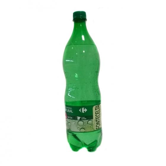 Agua mineral Carrefour natural con gas 1,25 l.