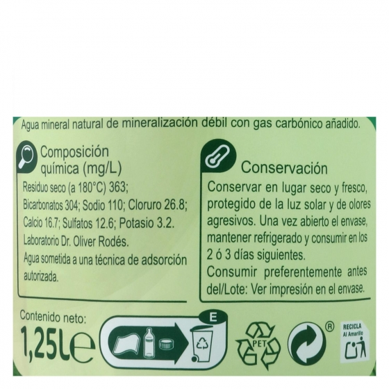 Agua mineral Carrefour natural con gas 1,25 l. - 3