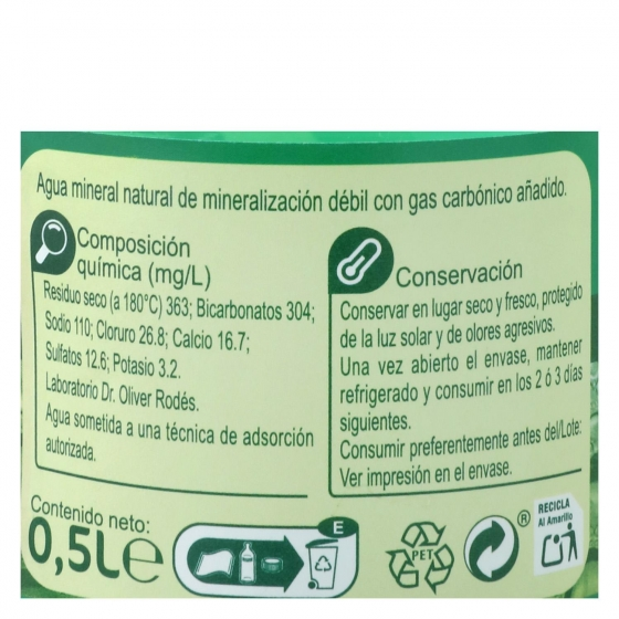 Agua mineral con gas Carrefour natural 50 cl. - 1