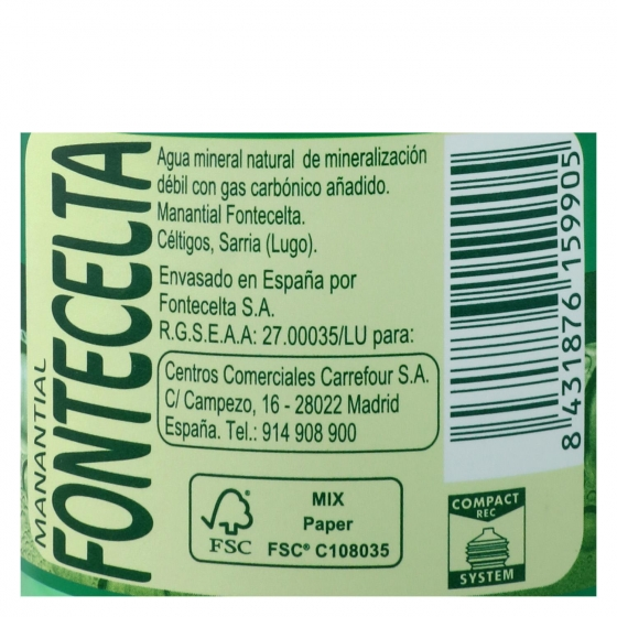 Agua mineral con gas Carrefour natural 50 cl. - 3