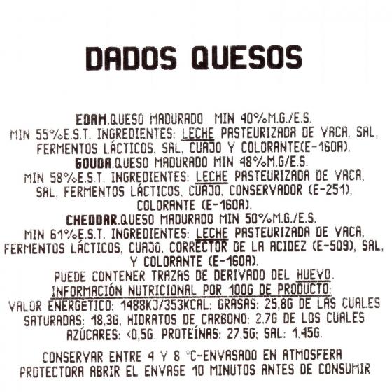 Dados de queso edam, gouda y cheddar Juan Luna 80 g - 3