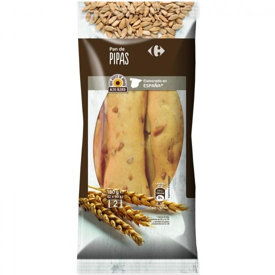 Palitos de pan con pipas Carrefour pack de 2x90 g.