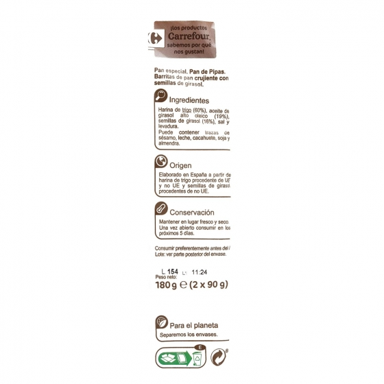 Palitos de pan con pipas Carrefour pack de 2x90 g. - 3