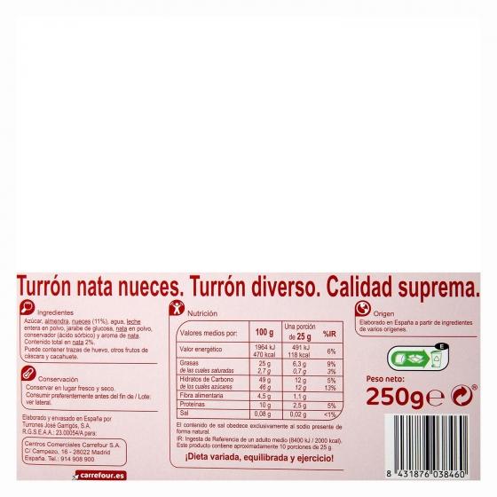 Turrón de nata con nueves Carrefour sin gluten 250 g. - 1