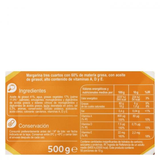 Margarina con girasol Carrefour 500 g. - 3