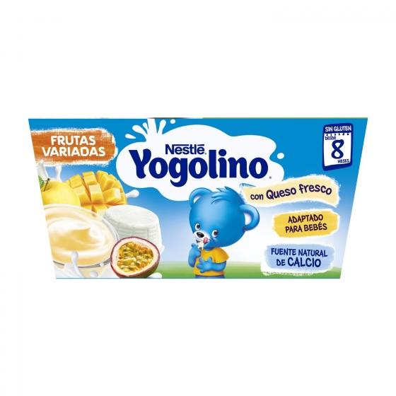 Petit de queso fresco con frutas desde 8 meses Nestlé Yogolino sin gluten pack de 4 unidades de 100 g. - 1