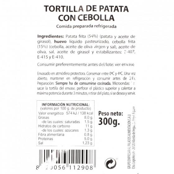 Tortilla de patatas con cebolla Palacios 300 g - 3