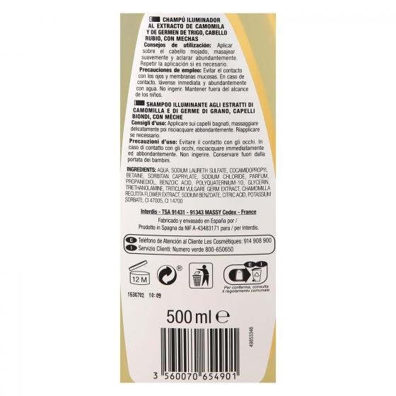 Champú Camolina & Trigo para cabello rubio Les Cosmétiques -Nectar of Beauty 500 ml. - 1