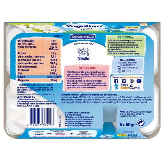Postre lácteo de pera desde 6 meses Nestlé Yogolino sin gluten pack de 6 unidades de 60 g. - 3