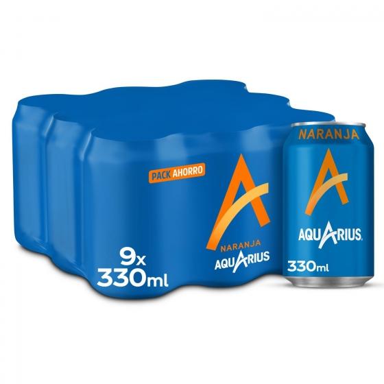 Bebida Isotónica Aquarius sabor naranja pack de 9 latas de 33 cl.