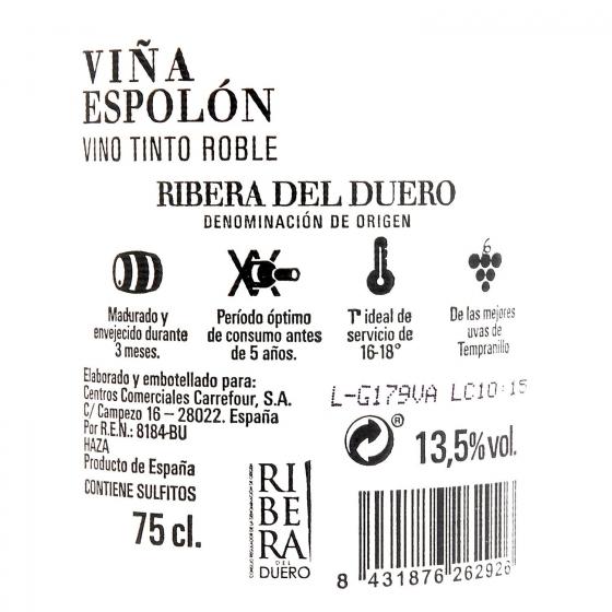 Vino D.O. Ribera del Duero tinto roble Viña Espolón 75 cl. - 1