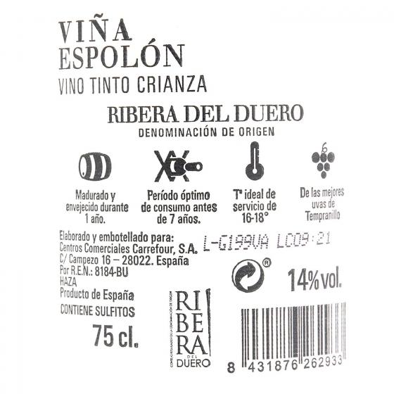 Vino D.O. Ribera del Duero tinto crianza Viña Espolón 75 cl. - 1