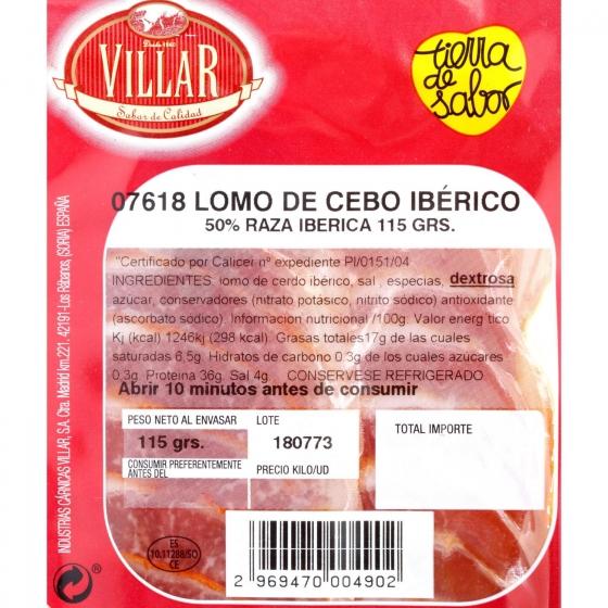 Lomo Iberico cebo 50% raza ibérica Cárnicas Villar envase 115 g - 3