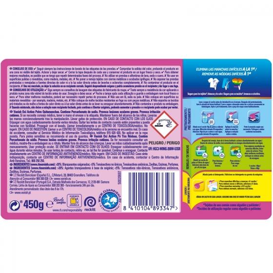 Quitamanchas ropa de color en polvi 4 Vanish Oxi-Action 450 g. - 1
