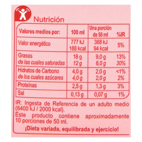 Nata para cocinar líquida ligera Carrefour 500 ml. - 1