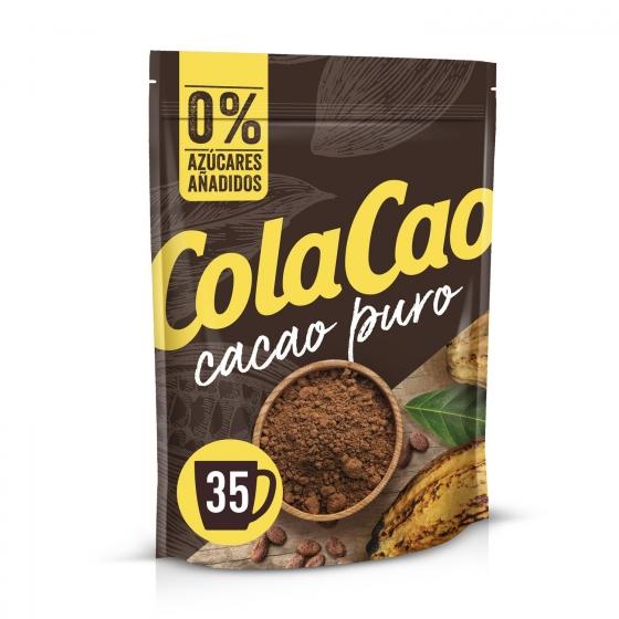 Cacao soluble puro sin azúcares añadidos Cola Cao sin gluten doy pack 250 g.