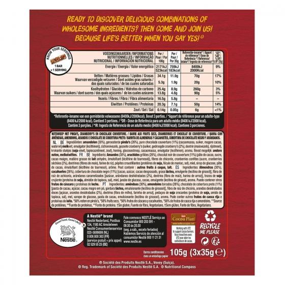 Barritas de almendras, cacahuetes con chocolate negro y arándanos YES! pack de 3 unidades de 35 g. - 1