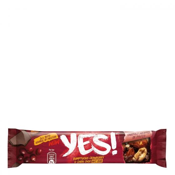 Barritas de almendras, cacahuetes con chocolate negro y arándanos YES! pack de 3 unidades de 35 g. - 3