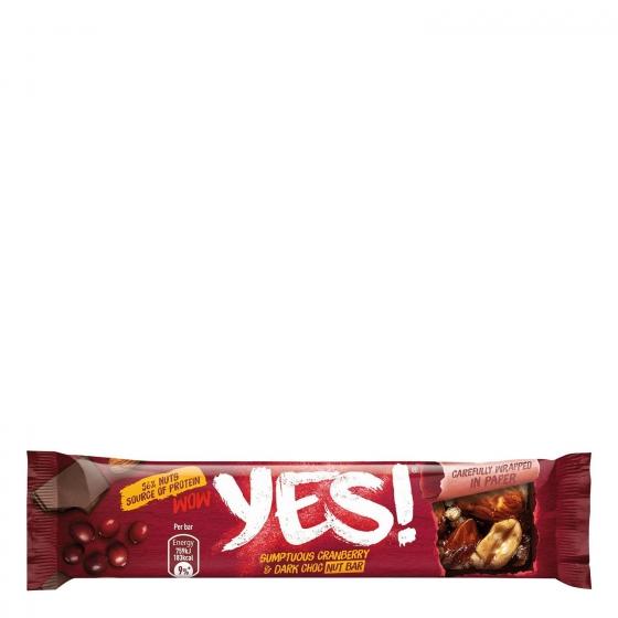 Barritas de almendras, cacahuetes con chocolate negro y arándanos YES! pack de 3 unidades de 35 g. - 4