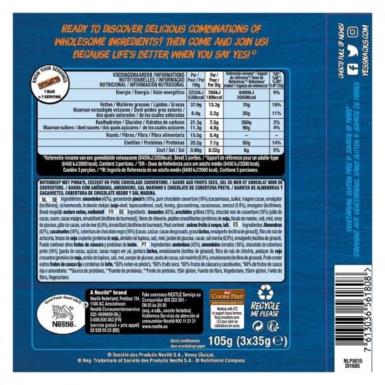 Barritas de almendras y cacahuetes con chocolate negro y sal marina YES! pack de 3 unidades de 35 g. - 1