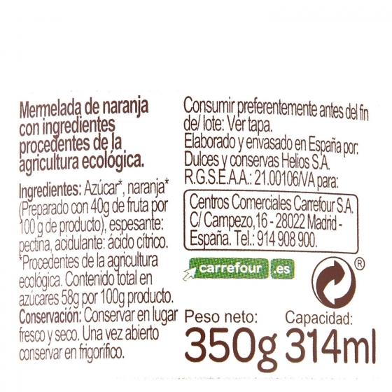 Mermelada de naranja ecológica Carrefour Bio 350 g. - 3