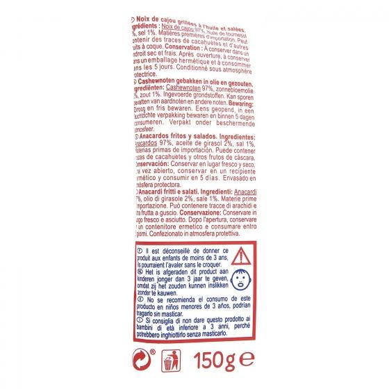 Anacardos fritos y salados 150 g. - 1
