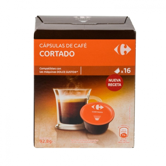 Café cortado en cápsulas Carrefour compatible con Dolce Gusto 16 unidades de 5,8 g.