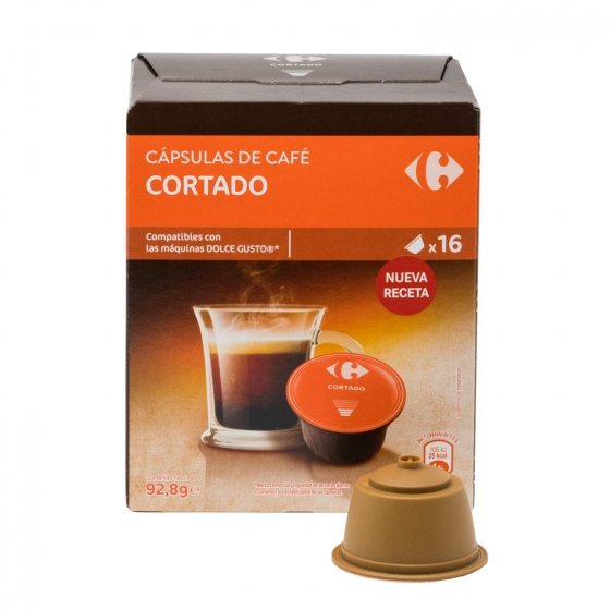 Café cortado en cápsulas Carrefour compatible con Dolce Gusto 16 unidades de 5,8 g. - 1