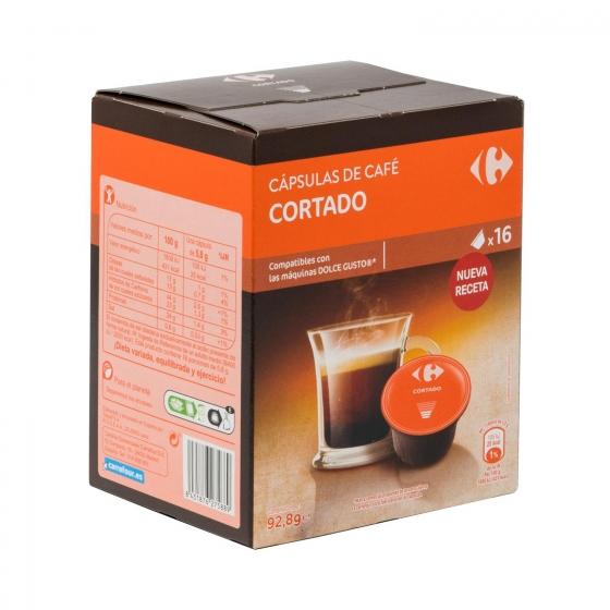 Café cortado en cápsulas Carrefour compatible con Dolce Gusto 16 unidades de 5,8 g. - 3