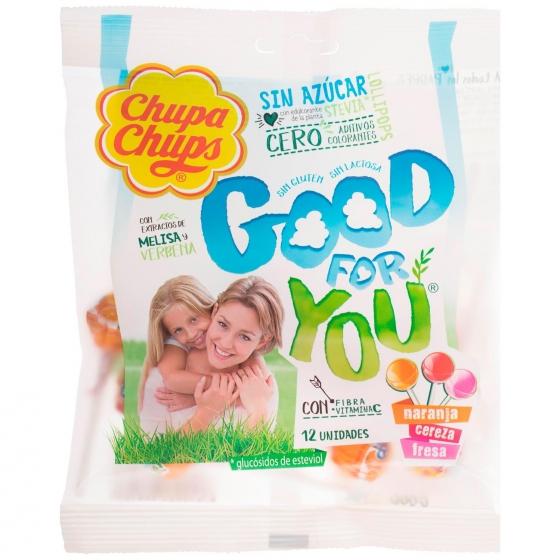 Caramelo con palo Good for you Chupa Chups 12 unidades de 6 g.