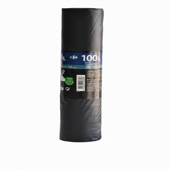 Bolsas Basura CARREFOUR Comunidad 100l 10 ud - Negro