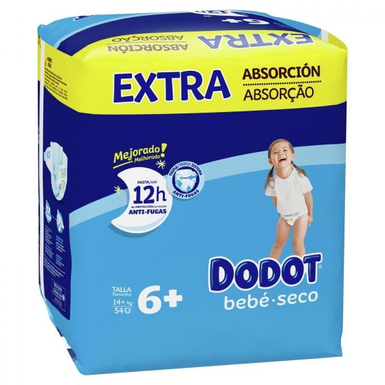 Pañales Dodot extra absorción T6+ (14+ kg.) 56 ud. - 1