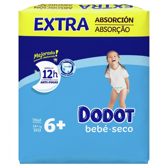 Pañales Dodot extra absorción T6+ (14+ kg.) 56 ud. - 3