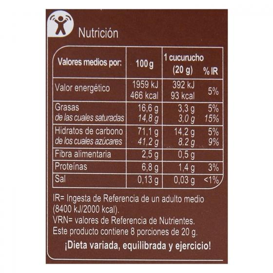 Conos de barquillo de chocolate Carrefour pack de 8 unidades de 20 g. - 1
