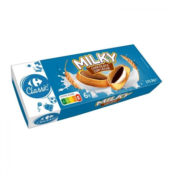 Galleta trío rellena de crema de chocolate con leche Carrefour 235,8 g.