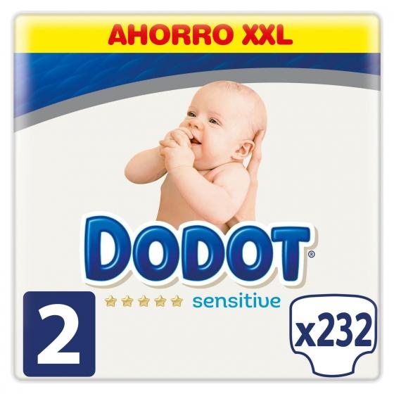 Pañales Dodot Sensitive Recién Nacido Talla 2 (4-8 kg) 232 uds