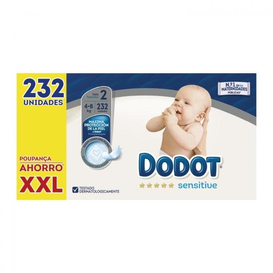 Pañales Dodot Sensitive Recién Nacido Talla 2 (4-8 kg) 232 uds - 1
