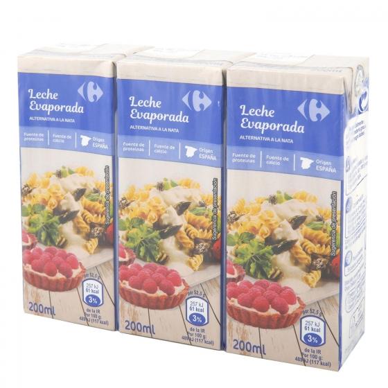 Leche evaporada parcialmente desnatada Carrefour pack de 3 unidades de 200 ml.