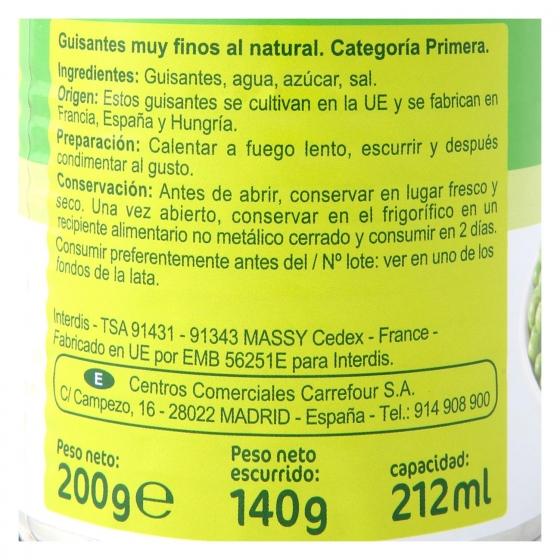 Guisantes muy finos Carrefour pack de 3 unidades de 140 g. - 1