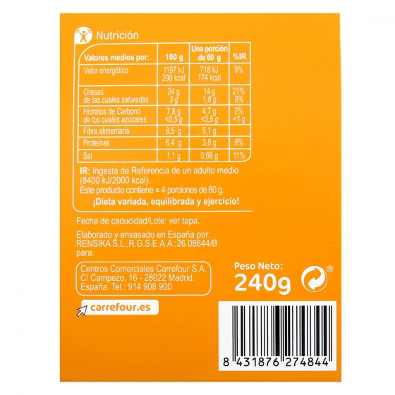 Hummus receta clásica Carrefour 240 g. - 1