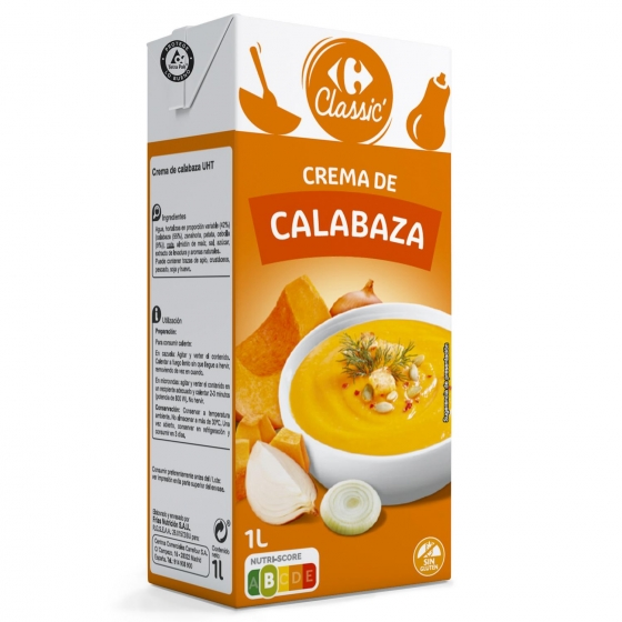 Crema de calabaza Carrefour sin gluten 1 l.