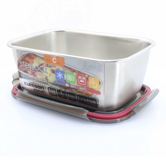 Hermético Rectangular Metal CUITISAN CANDL 1800 ml - Metalizado - 6